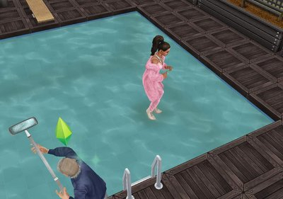 she just strolled across the actual pool